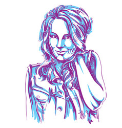 Art drawing portrait gorgeous flirting girl vector