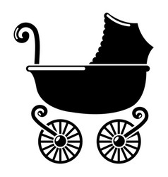 Baby carriage vintage icon simple black style vector