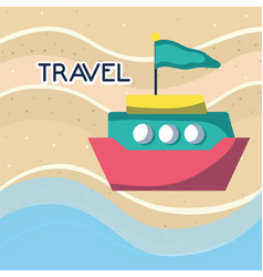 beach sea boat with flag tourist vacation travel vector image