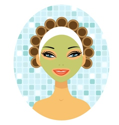Beauty with hair curlers vector