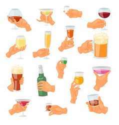 beverage in hand drinking alcoholic vector image