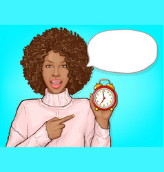Black woman pointing finger to alarm clock vector
