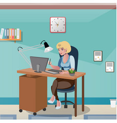 Businesswoman sitting at the desk working with vector
