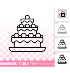 Cake dessert baking simple black line icon vector