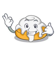 Call me cinnamon roll mascot cartoon vector