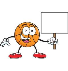 Cartoon basketball holding a sign vector image