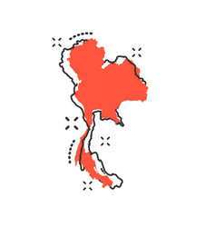 Cartoon thailand map icon in comic style thailand vector