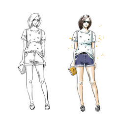 Casual summer look fashion vector