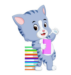 Cat holding book vector