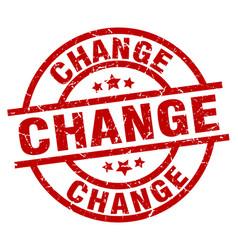 Change round red grunge stamp vector