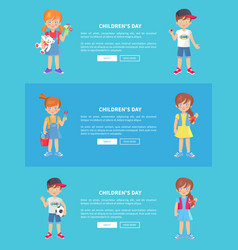 Children s day web banner with kids holding toys vector