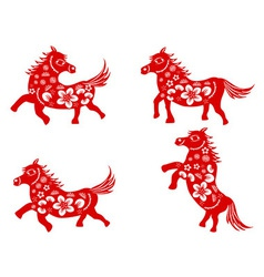 Chinese horse-paper cut vector