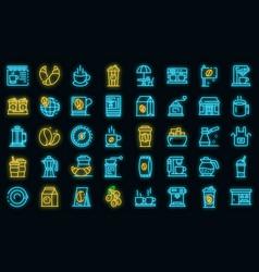 coffee shop icons set neon vector image