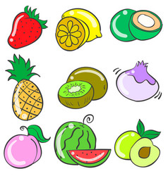 Collection stock of fruit various doodles vector
