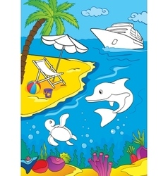 Coloring book of sea and marina life vector