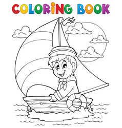 Coloring book sailor theme 1 vector