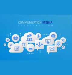 Communication digital media infography vector