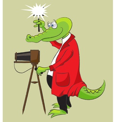 Crocodile photographer vector image