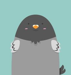 Cute big fat pigeon bird vector