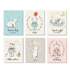 cute cards with little bear characters set vector image