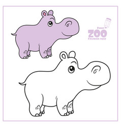 cute cartoon little hippo color and outlined on a vector image