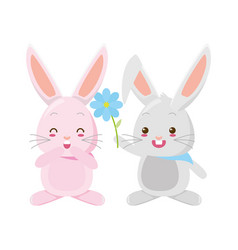 cute couple rabbits with flower vector image