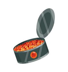 Delicious caviare snack canned caviar seafood vector