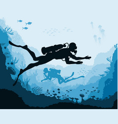 divers and reef underwater wildlife vector image