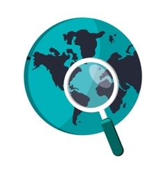 earth globe and magnifying glass icon vector image