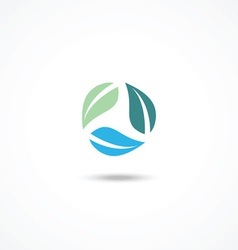 Ecology icon with leafs vector image