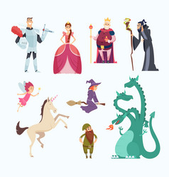 fairy tales heroes witch wizard princess dragon vector image