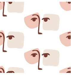 fashion glamour abstract faces seamless pattern vector image