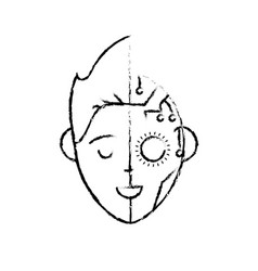 Figure boy head in interface connection system vector