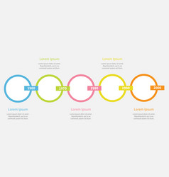 Five step timeline infographic colorful round vector