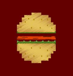 Flat shading style icon pixel hamburger vector