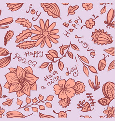 floral seamless pattern with butterfly and bugs vector image