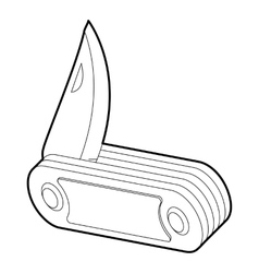 Folding knife icon outline style vector image