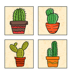 Four cactus in a pot vector