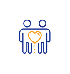 Friends couple line icon friendship sign vector