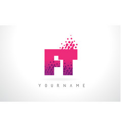 ft f t letter logo with pink purple color and vector image