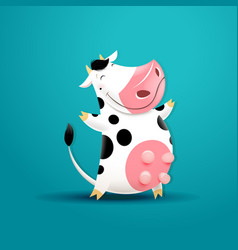 funny smiling cow vector image