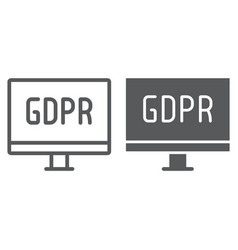 gdpr monitor line and glyph icon computer and vector image