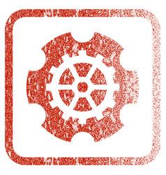 Gearwheel framed textured icon vector