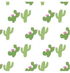 geometrical green cacti seamless pattern vector image