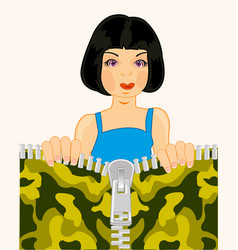 Girl and clasp on fabrics vector