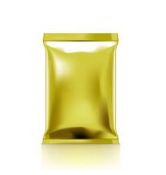 Golden clear plastic bag packaging for snack vector
