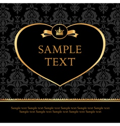 Golden Label Heart on Damask black Background vector