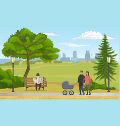 happy young family with a bain stroller walking vector image