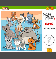How many cats educational task for kids vector