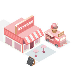 isometric shop and food trucks trucks with ice vector image